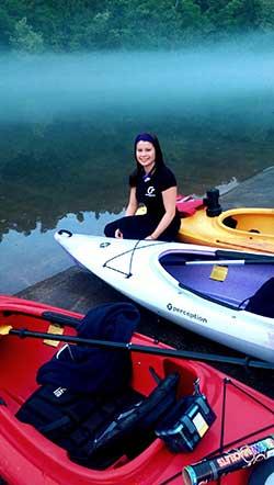 Cat kayaking on Lake Taneycomo
