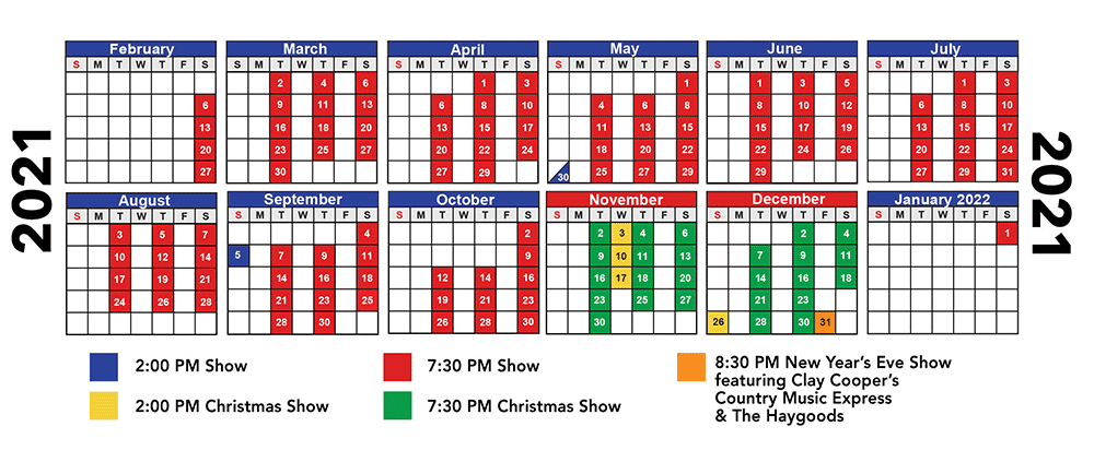 2021 Haygoods Branson Show Schedule