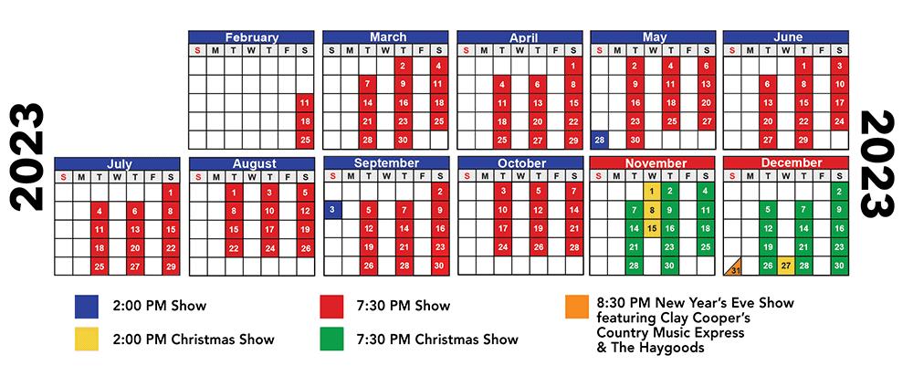 2023 Haygoods Branson Show Schedule