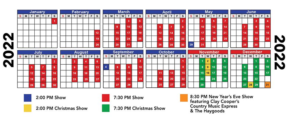 2022 Haygoods Branson Show Schedule